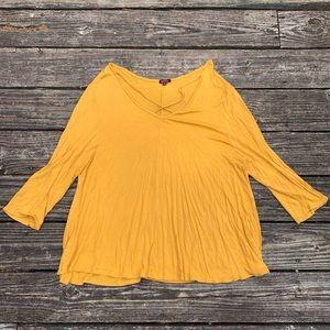 Blush | Mustard Yellow Crisscross neck t-shirt 3X